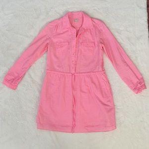 Gap Pink Drawstring Shirt Dress